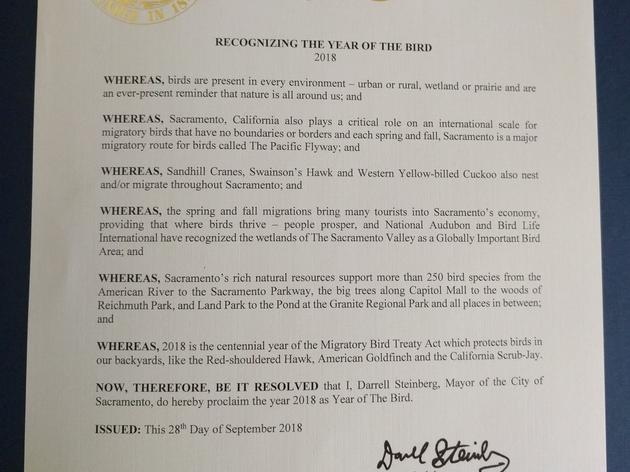 Mayor of Sacramento issues Migratory Bird proclamation