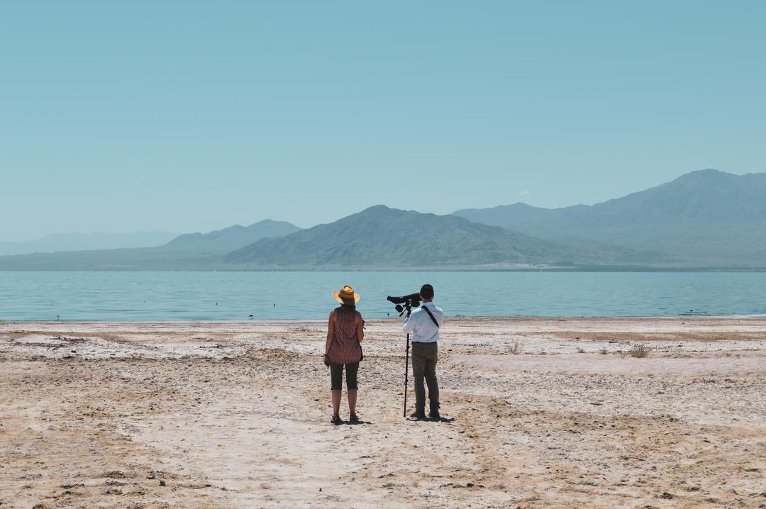 Andrea Jones and Ryan LLamas perform a bird survey at the Salton Sea